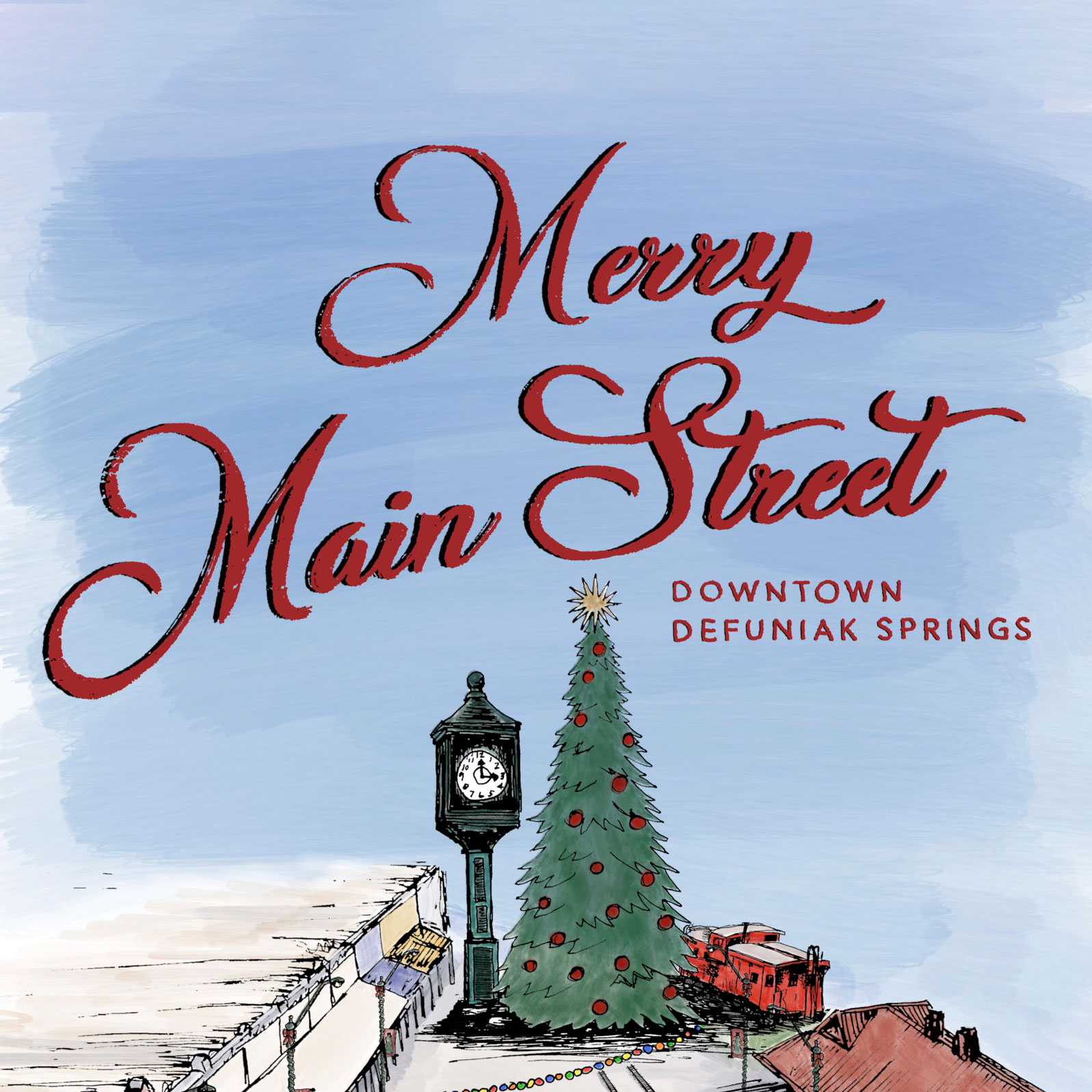 Merry Main Street illustration of Christmas decorations in downtown DeFuniak Springs